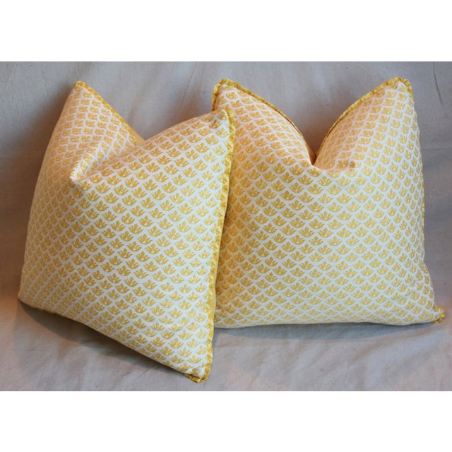 """Italian Mariano Fortuny Canestrelli Feather/Down Pillows 20"""" Square - Pair For Sale - Image 9 of 13"""