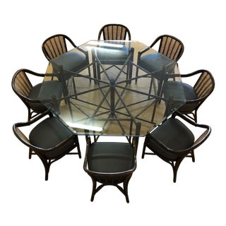 McGuire Octagonal Bamboo and Glass Dining Table and Matching McGuire Rattan Chairs -Set of 8 For Sale