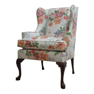 Vintage Floral Queen Anne Cherry Wingback Chair