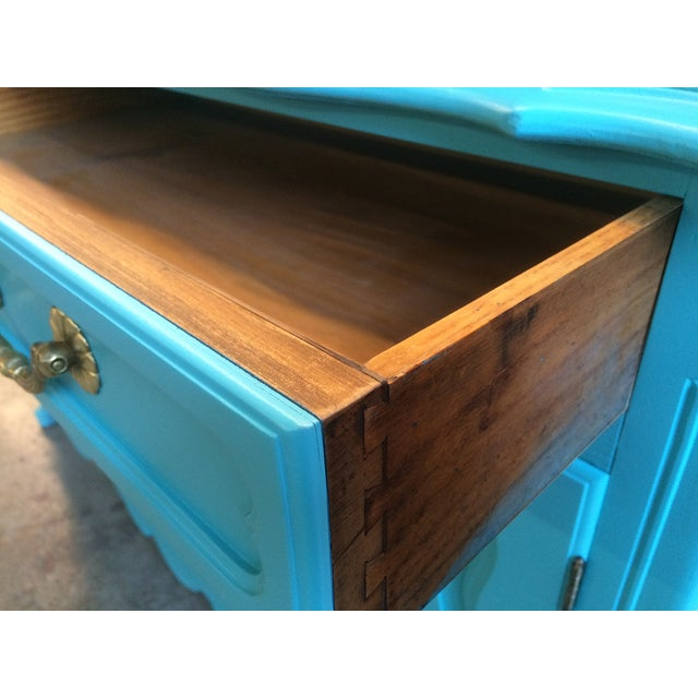 American Turquoise Chippendale Style Oak Hutch - Image 5 of 10