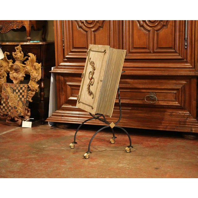 This large vintage leather book on wheels bar cart was found in Lyon, France. Crafted circa 1950, the large front cover...