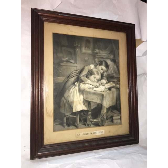 "19th Century ""The Writing Lesson"" Lithograph - Image 4 of 11"