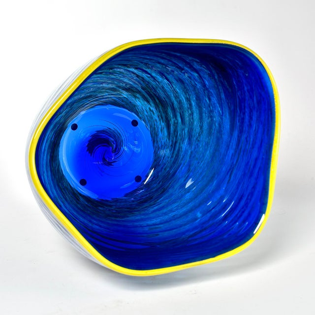 Glass Large Cobalt Blue and Yellow Art Glass Vase For Sale - Image 7 of 9