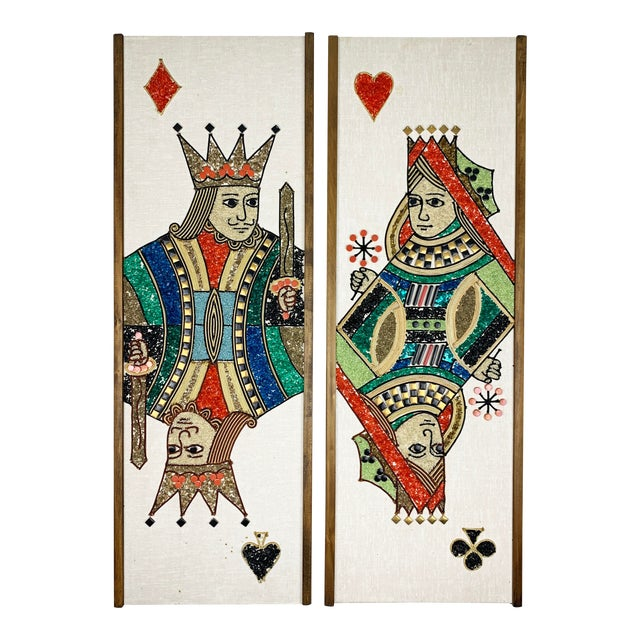 1970s Gravel Art Panels King + Queen, Circa 1970s - a Pair For Sale