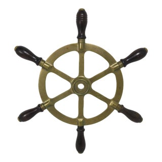 Antique Brass & Rosewood Ships Wheel For Sale