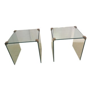 1960s Mid-Century Modern Glass and Brass End Tables - a Pair For Sale