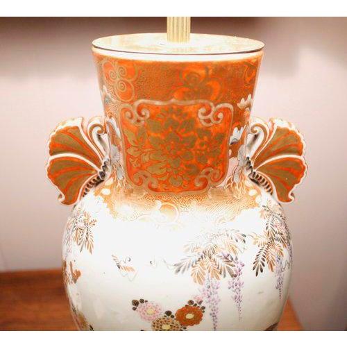 Japanese Satsuma Ware Vase Lamp For Sale - Image 4 of 11