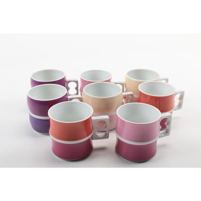 Contemporary Vintage Block Chromatics Tea Set - Set of 12 For Sale - Image 3 of 10