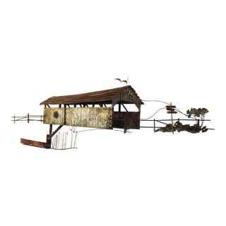 C. Jere Signed Covered Bridge Wall Sculpture For Sale