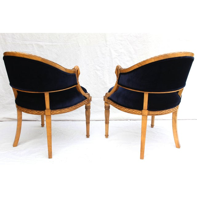 Wood Meyer Gunther Martini French Empire Chairs Rope & Swan Details Newly Upholstered - Pair For Sale - Image 7 of 9