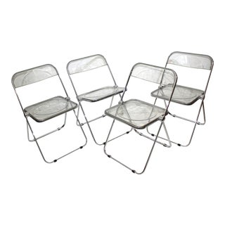 Vintage Casselli Plia Folding Chairs in Lucite and Chrome - a Set of 4 For Sale