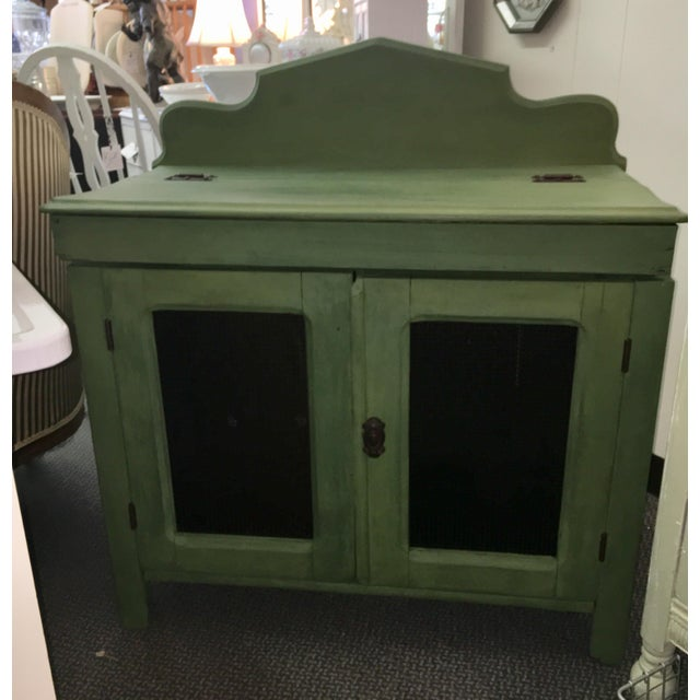 Wood Antique Painted Green Grain Cabinet For Sale - Image 7 of 7