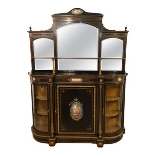 19th Century Ebonized Bronze Mounted Sideboard Vitrine With Matching Mirror For Sale