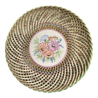 Vintage Spanish Hand Painted Basket Weave Plate For Sale