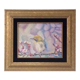 Nancy T. Van Ness Bird on Branch Oil Painting Print For Sale
