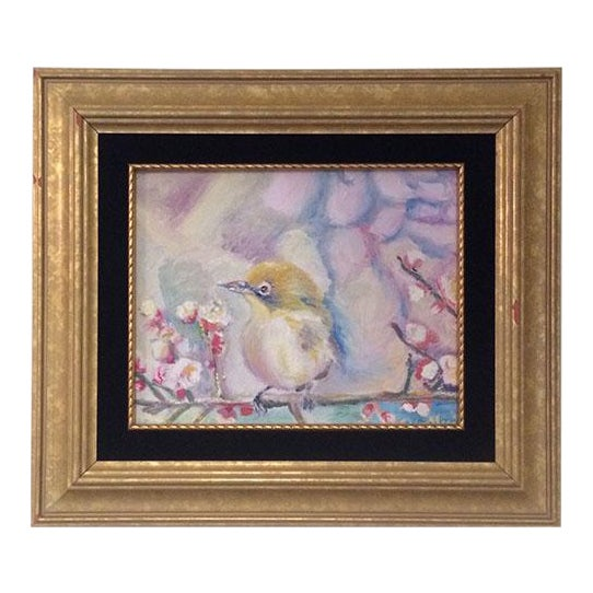 Nancy T. Van Ness Bird on Branch Oil Painting Print - Image 1 of 10