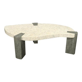 Ameoba Organic Kidney Shape Stone Marble Tile Veneer Coffee Table For Sale