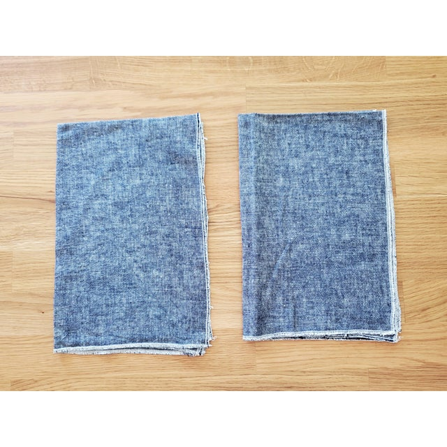 This pair of tea towels, kitchen towels, or dish towels are made of an apparel weight yarn dyed linen in dark blue. The...