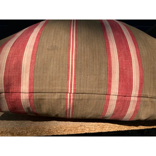 French Antique French Red & Brown Ticking Stripe Fabric Pillow For Sale - Image 3 of 4