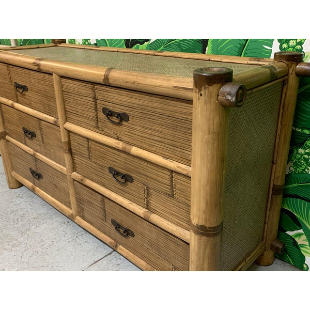 Bamboo and Rattan Double Dresser For Sale - Image 4 of 10