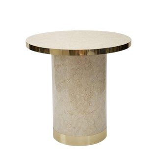 1970's Marble Effect Entryway Table With Brass Banding