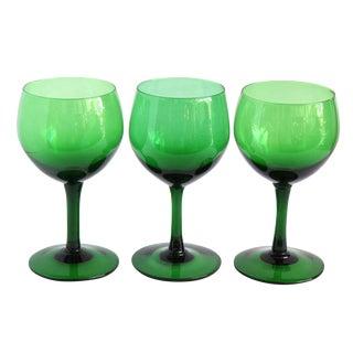 Vintage Green Wine Glasses- Set of 3 For Sale