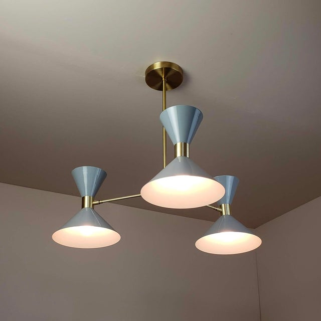 Mid-Century Modern 'Monarch' 3-Arm Modern Brass and Gray Enamel Pendant by Blueprint Lighting For Sale - Image 3 of 4