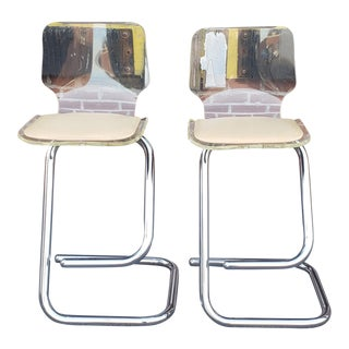 Pair Contemporary Chrome & Lucite Cantilever Bar Stools by Luigi Bandini for Hill Manufacturing For Sale