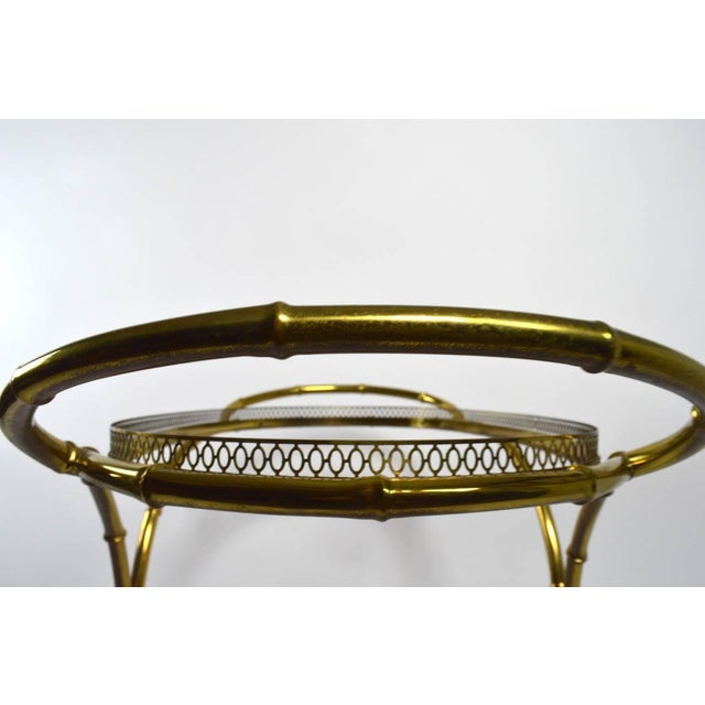 Metal Faux Bamboo Serving Cart, Trolley in Brass and Glass For Sale - Image 7 of 11