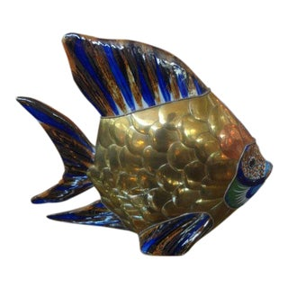 Mid-Century Mixed Metal and Pottery Fish Sculpture