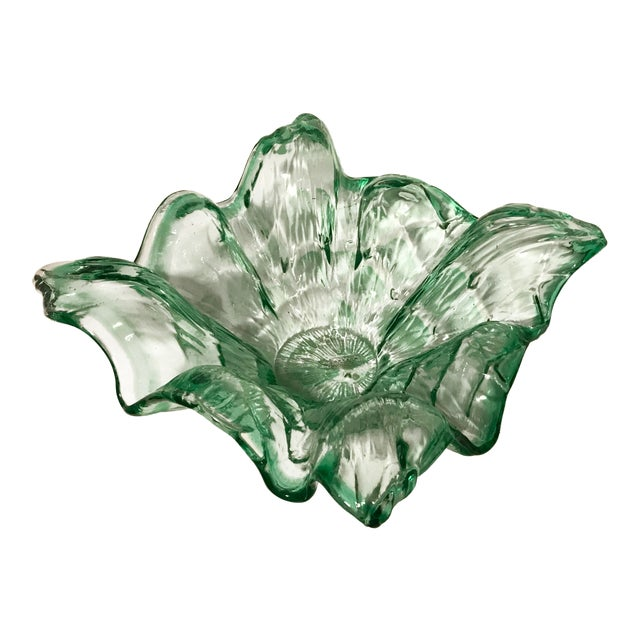Vintage Mid-Century Modern Murano Italy Hand Blown Green Bowl For Sale