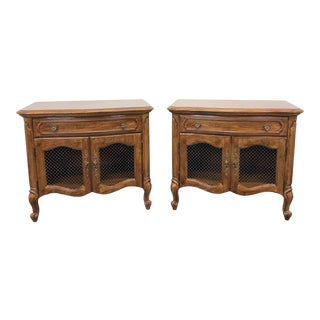 Thomasville Camile Oak French Country Style Nightstands / Bedside Chests - Pair For Sale