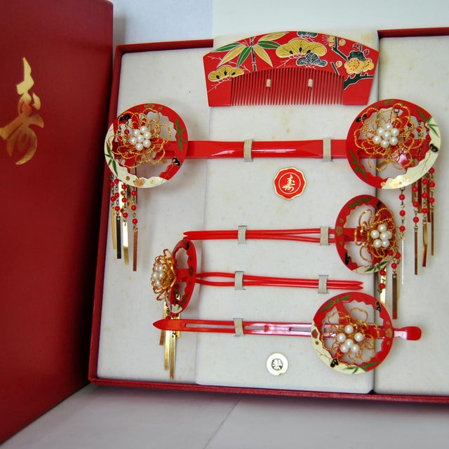 Japanese Maiko Kanzashi Geisha Hair Ornament Set - Set of 6 - Image 2 of 9