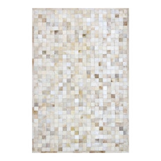 Handmade Off-White Cowhide Patchwork Area Rug - 8' X 10' For Sale