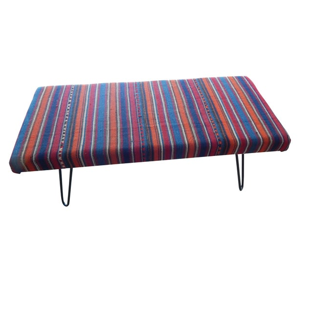 Red Kilim Bench With Hairpin Legs, Vintage Kilim Rug Ottoman, Kilim Upholstered Bench With Turkish Kilim Rug For Sale - Image 8 of 10