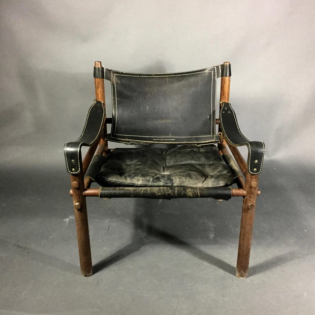 "Arne Norell ""Scirocco"" Safari Chair, Leather & Rosewood, Sweden For Sale In New York - Image 6 of 12"