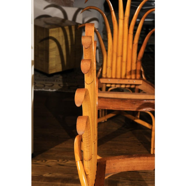 An absolutely Majestic pair of custom-made palm frond style dining chairs, circa 1950. Exceptionally conceived and crafted...