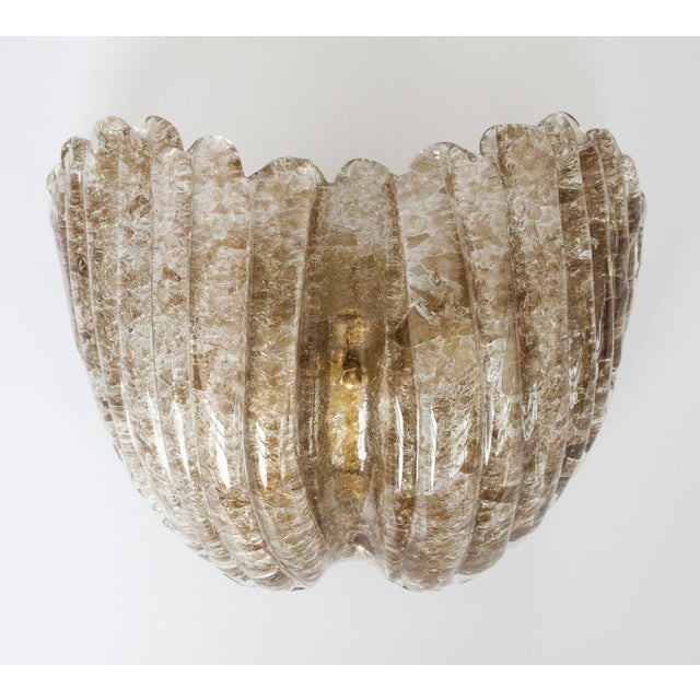 J.T. Kalmar Smokey Topaz Glass Shell Form Sconces - A Pair - Image 3 of 5