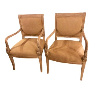 Dolphin Head Carved Wood Upholstered Arm / Office Chairs - A Pair