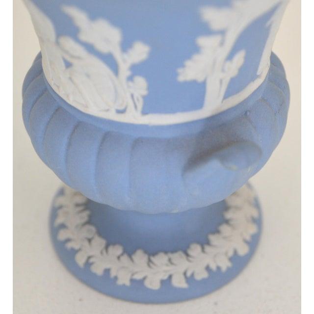 Blue Antique Wedgwood Jasperware Blue & White Urn Vase England Miniature For Sale - Image 8 of 11