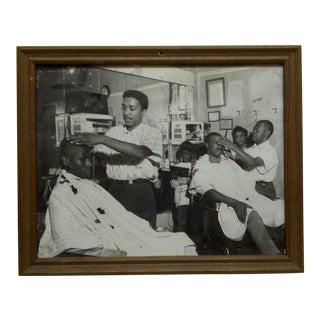 "Original Framed Black & White Photograph ""The Barbershop"" by Teenie Harris For Sale"
