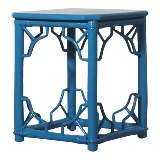 Rattan Fretwork Side Table Painted Blue For Sale