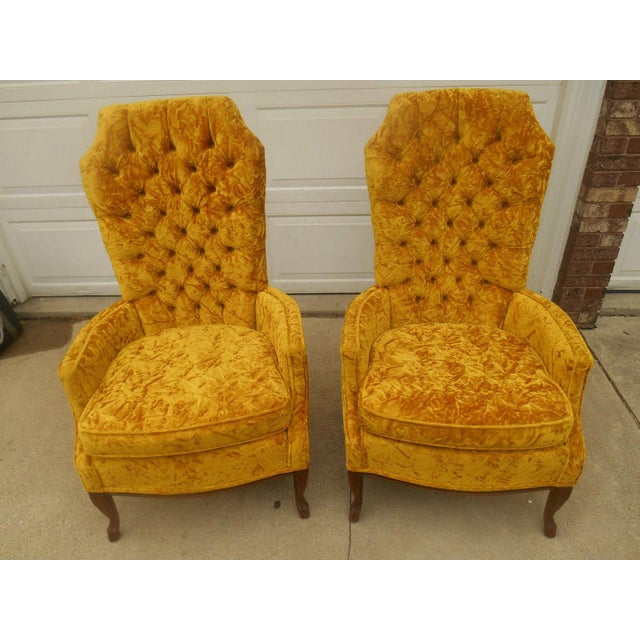 Hollywood Regency High Back Tufted Chairs - A Pair - Image 2 of 8