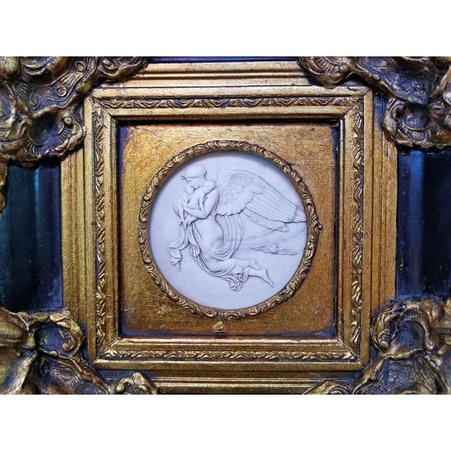 19th Century Russian Framed Marble Plaques Ft Angels- A Pair For Sale - Image 10 of 13