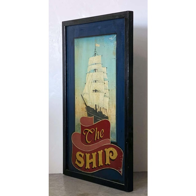 """Vintage English Pub Sign, """"The Ship"""" For Sale - Image 4 of 13"""