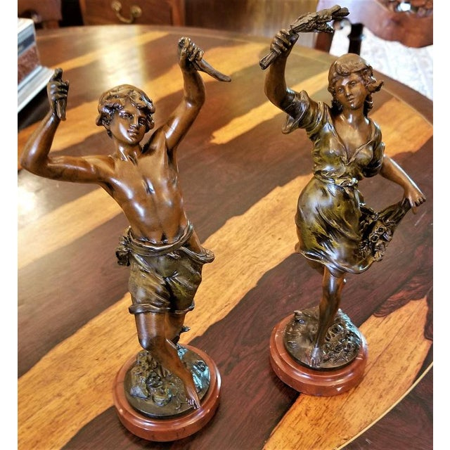 Auguste Moreau 19th C. Bronzed Spelter Sculptures After Auguste Moreau - a Pair For Sale - Image 4 of 13