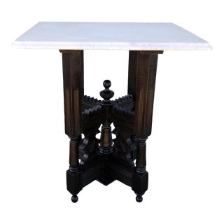 20th Century Early American Marble Top Side Table For Sale