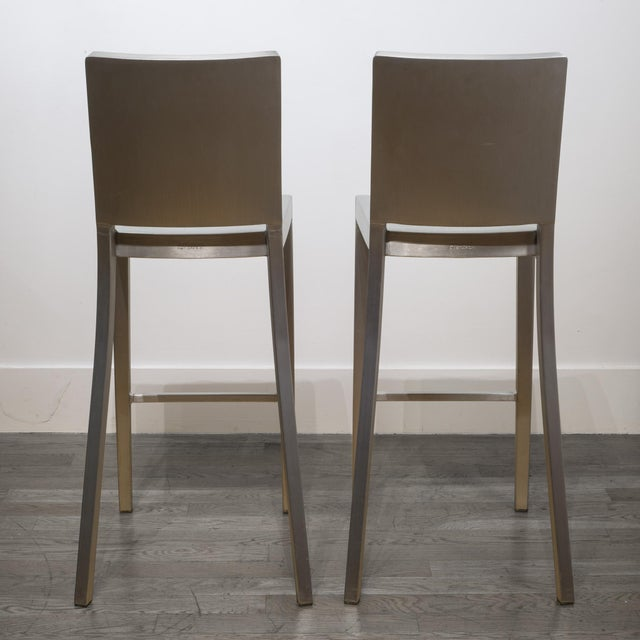 Silver Set of 4 Emeco Hudson Counter Stools by Philippe Starck For Sale - Image 8 of 10