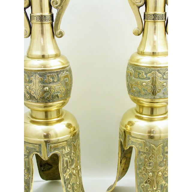 Monumental Large Asian Brass Table Lamps Mid-Century Modern McM- a Pair - Image 4 of 11