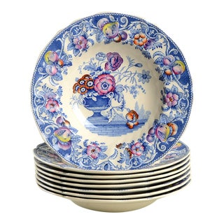 Royal Doulton Pomeroy Blue Rim Bowl - Set of 8 For Sale